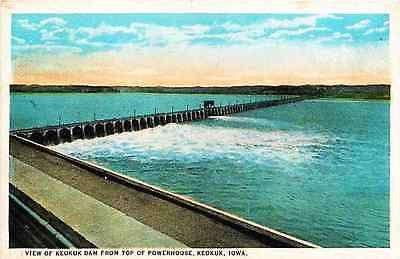 Keokuk Iowa IA 1919 Keokuk Dam from Top of Power House Antique Vintage Postcard