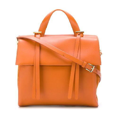 Orange calf leather flap tote from Desa 1972. Size: OS. Color: Yellow/orange. Gender: Female. Material: Calf Leather.