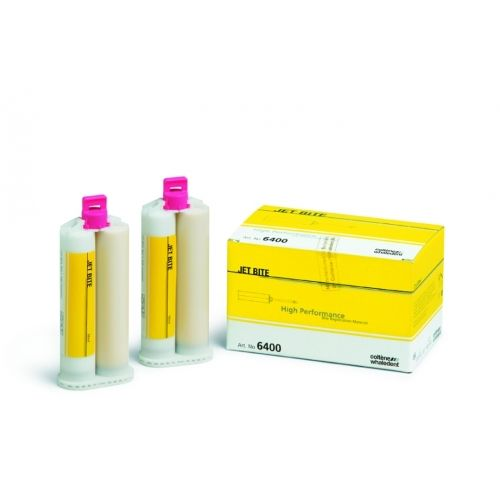Coltene. Jet Bite 4x25ml. JET BITE is an A-silicone-based impression material for use in dentistry with an automatic mixing device.  Easy handling and ideal stability facilitate the bite registration. The dental technician appreciates how well the material can be formed and trimmed.