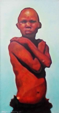 """Son, Oil on Canvas, W: 310mm x H: 610mm x D: 40mm, W: 12"""" x H: 24"""" x D: 2"""" #Art #Painting #Oil #Fine_Arts #Contemporary #Benjamin_Mitchley #Figurative #Male #South_Africa #Township_Art"""