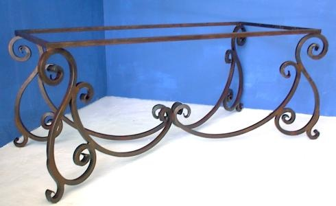 wrought iron dining table base  32in x 68in custom size, which was made for a 42in x 84in top.