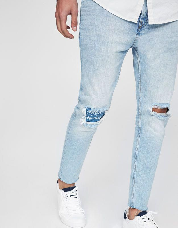 Jean Dechire Coupe Carrote Jeans Vetements Homme Pull Bear