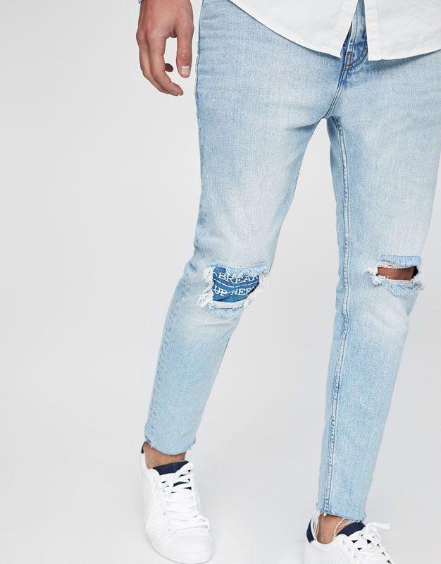 Jean Bleu Dechire Avec Patchs A Carreaux 4179 Urbn Streetwear