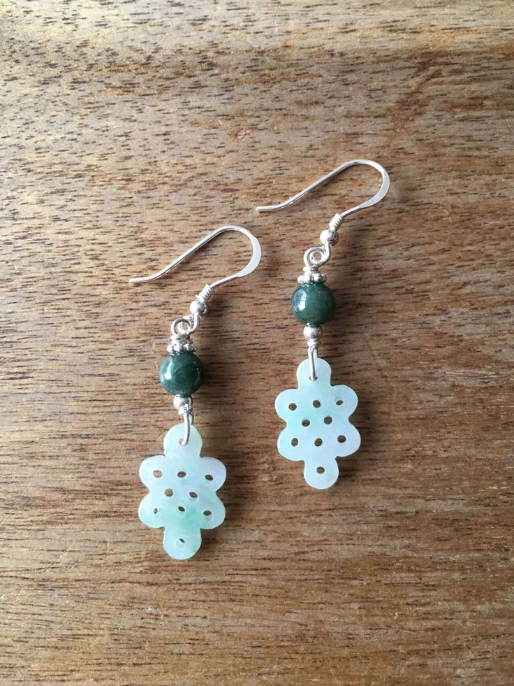 Jade Earrings - Carved Light Green Jade Chinese Lucky Charm Endless Knot (盤祥結) with Dark Green Jade Bead 925 Sterling Silver Earrings by RitaCollection on Etsy