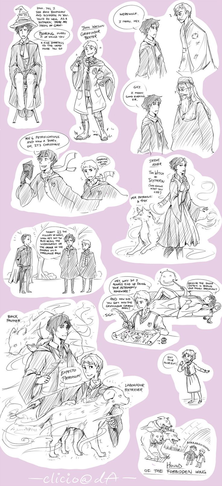 sherlock+hp crossover doodles by ~Clicio on deviantART I really appreciate this. Though I can't help but think that John and Sherlock's patronuses (patronusi?) should be the otter and hedgehog. But I do like the retriever for John.