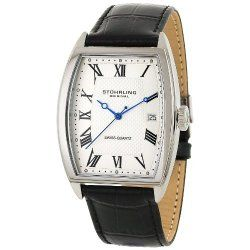 Stuhrling Original Men's 241.33152 Classic Madison Park Avenue Swiss Quartz Date Black Leather Strap Watch