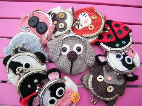 Thank you for inviting me :)  I am passionate about crochet and knitting!  I present to you my little wallet animals
