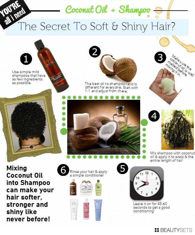 Mixing coconut oil into shampoo can make your hair softer, stronger and shiny like never before! Make sure the coconut oil is well melted before mixing it in. Leave it on for 45-60 seconds to get a good conditioning | BeautySets