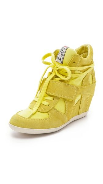 Ash Bowie Suede Wedge Sneakers with Canvas Insets. Click for more info or to buy.