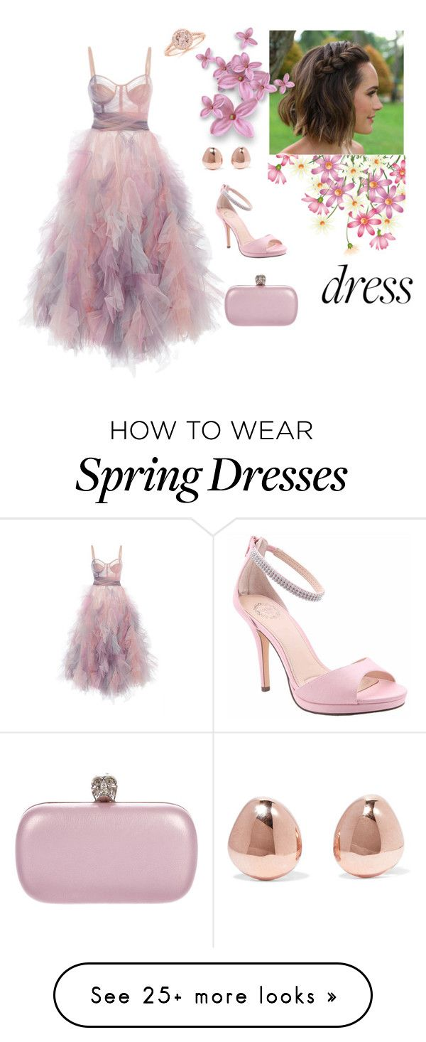 """""""Dreamy flowery dress"""" by namsteokay on Polyvore featuring Marchesa, Alexander McQueen, I. MILLER and Monica Vinader"""