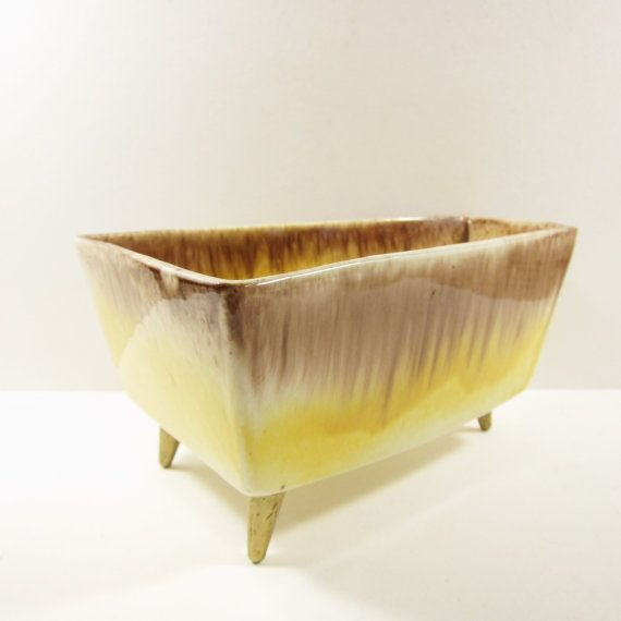 Vintage Planter Inc Ceramic Planter Mid Century Yellow Brown Glaze Pottery with Legs Made in Chicago USA