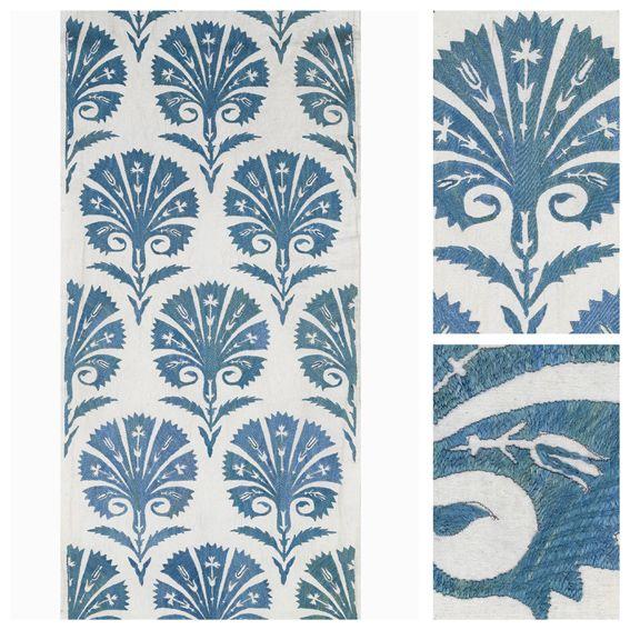 Robert Kime 'Palmette Blue' fabric