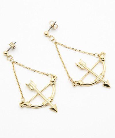 Bow/Arrow Gold Dangling Earrings. $ 35.00
