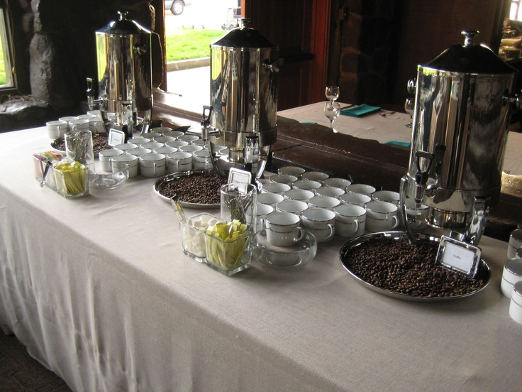Coffee station on Tuscany Natural linen. White with double ...