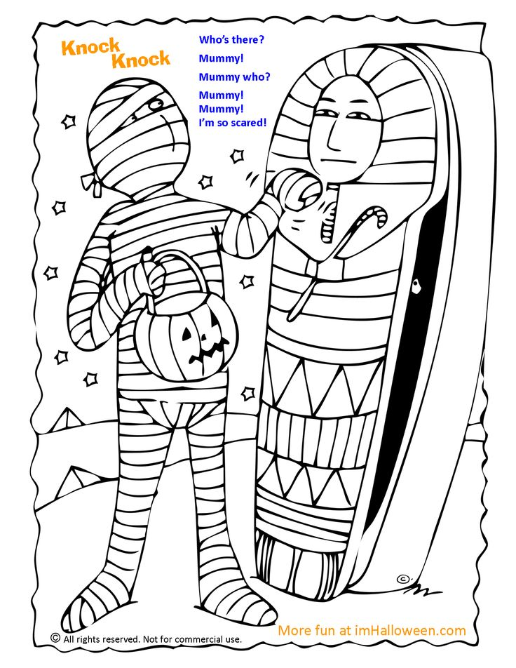 mummy knock knock joke coloring page gt more fun halloween pages at imhalloween   halloween