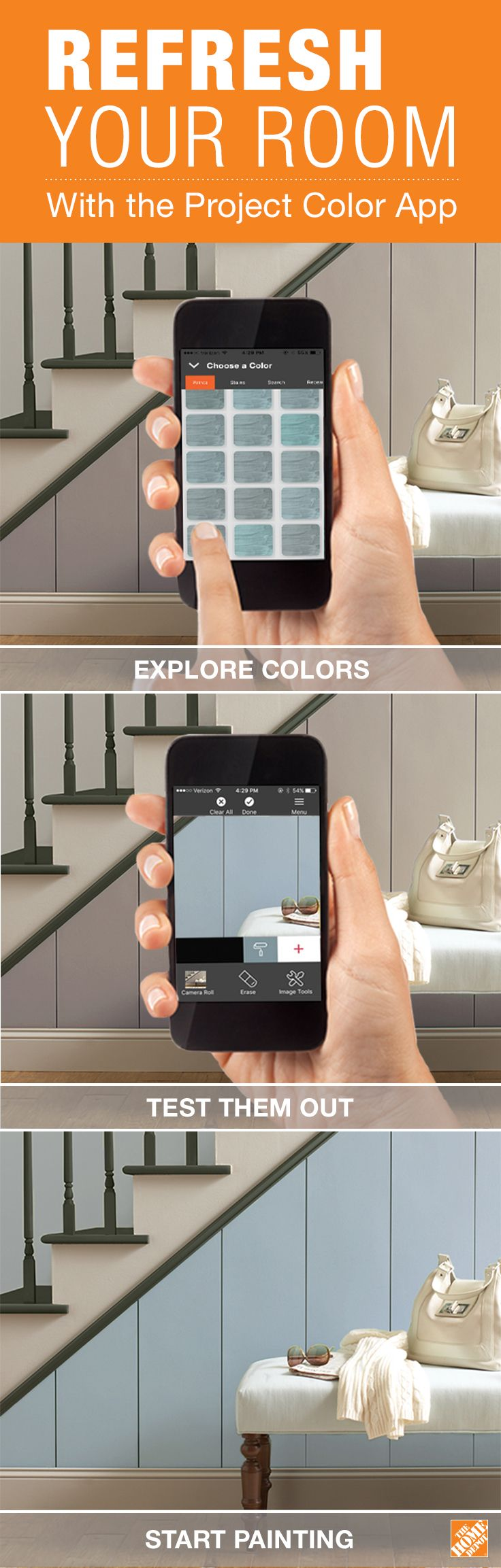 "Search ""Project Color by The Home Depot"" on your iPhone or Android to download the app today! The Project Color app by The Home Depot allows you to try out paint colors virtually. When you're thinking about redecorating a room or refreshing your walls, consult the app to test out your new color choices, like BEHR's Journey's End pictured here. Download the app, and start trying out new paint colors now."
