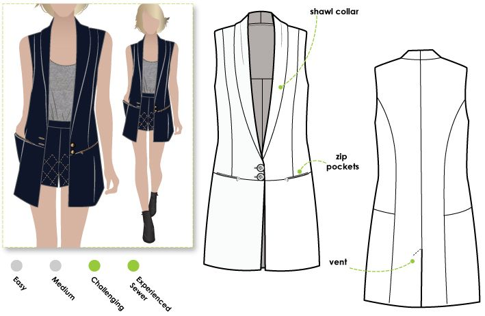 Trendy long line vest with shawl collar pockets