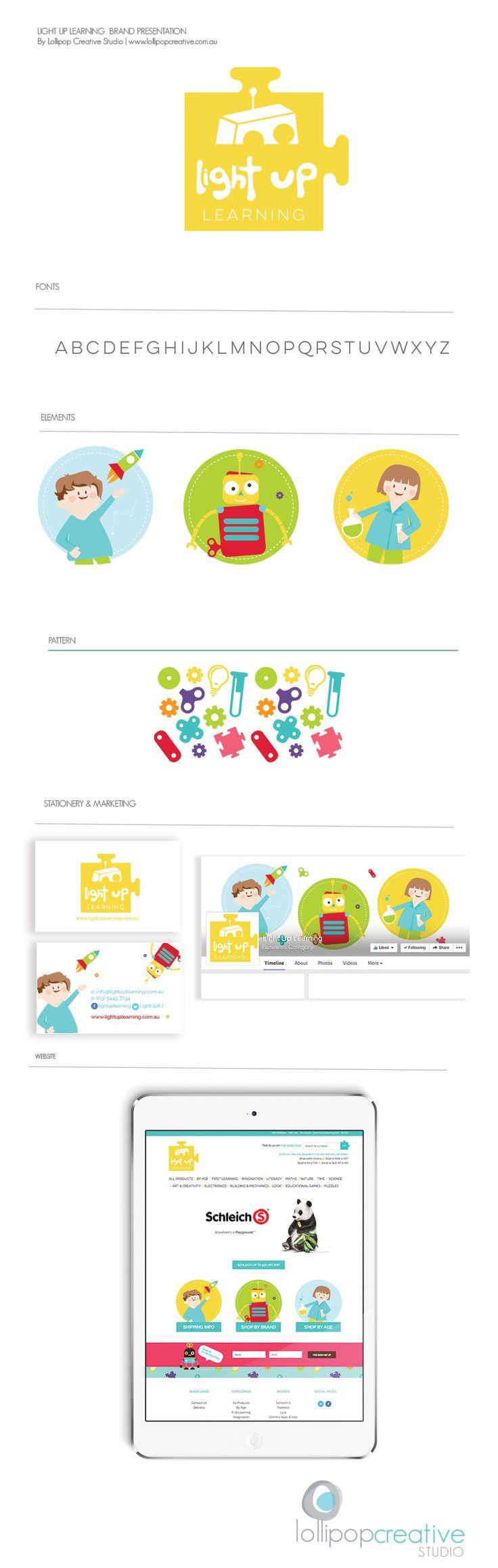 Light Up Learning Children's logo design & branding board