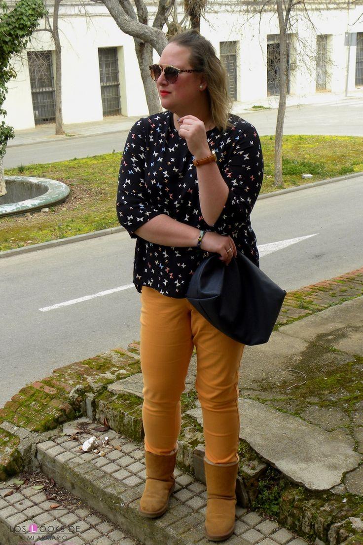 Trendy Curvy Look. MARIPOSAS #violetabymango #camisa #primark #jeans #mostaza #outfittallagrande #WeAreVioleta  #curvy #plussizecurve #personalshopper #curvygirl #loslooksdemiarmario #bloggermadrid #outfit #plussizeblogger #fashionblogger #influencer #trendy #bloggerXL