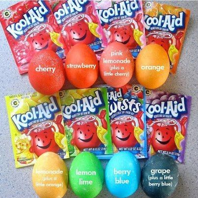 Photo: Here is a great idea for Easter. Instead of buying those dying kits, use koolaid. One pack of Koolaid and 2/3 cups water and you've got awesome egg dye. Two bonuses: it's cheaper than those boxes of egg dye and it smells so yummy! :) Side note, if you use the lemonade flavor, mix it with a little bit of orange because the lemonade  doesn't dye very well. And the pink lemonade needs alittle cherry in it.  *Penny