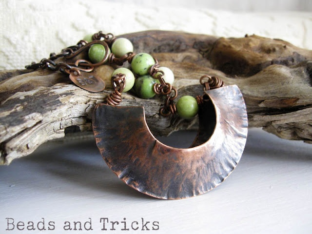 Vessel. copper necklace, chrysotine, foldforming {Handmade by Beads and Tricks}
