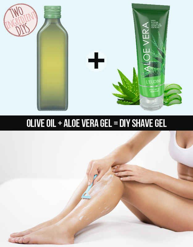 Create a soothing shave gel with just aloe vera and olive oil.