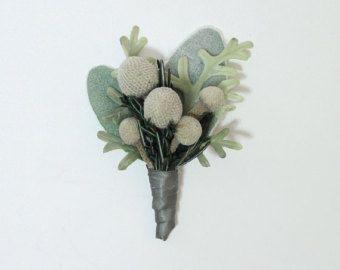 Prendedor de flor en el ojal novios en gris plata tonos verdes para bodas de invierno Navidad o fiesta flores, secar flores, flores de seda recuerdo