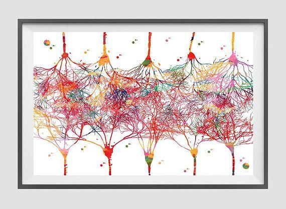 Cortical Neurons Art Print Connections Between Pyramidal Neurons Watercolor Brain Art Cerebral tissues Anatomy Neocortex Illustration