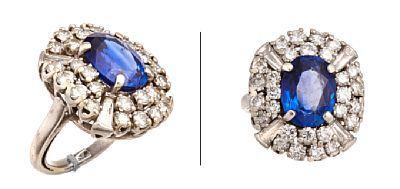 RING  Platina. Fattet med en safir 12 - 9 mm, fire trapesslipt diamanter 0,60 ct og 28 brillianter 1,8 ct. Totalvekt: 14,9 g. Antatt kvalitet: Wesselton SI/VS STØRRELSE 50 HØYDE 22 mm BREDDE 19 mm