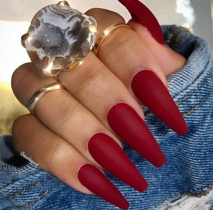 Pin By Keka 1 C On Unhas Red Acrylic Nails Dark Red Nails Glam Nails