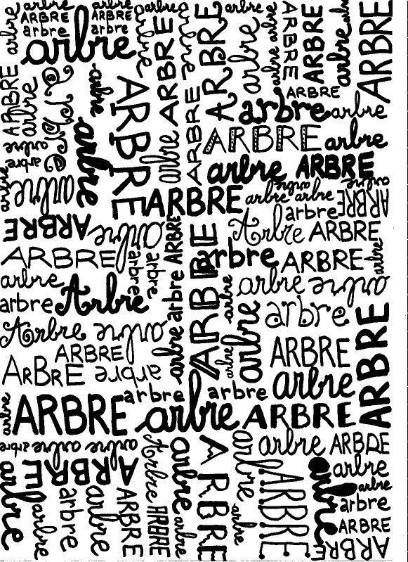 """YEP - A4 avec le mot """"ARBRE"""" écrit à la main comme un enfant pourrait le faire. Papier à motif idéal pour le scrap et la homedeco !"""