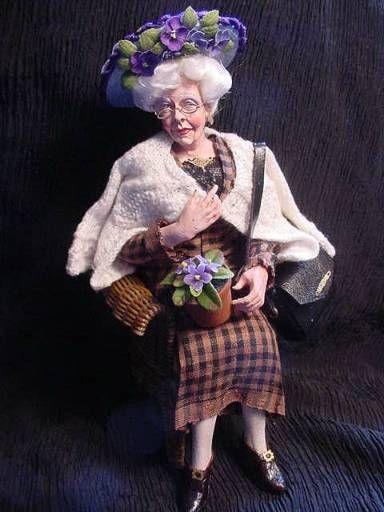 ✿ڿڰۣ(̆̃̃•Aussiegirl 1:12th scale miniature Marcia Backstrom granny doll