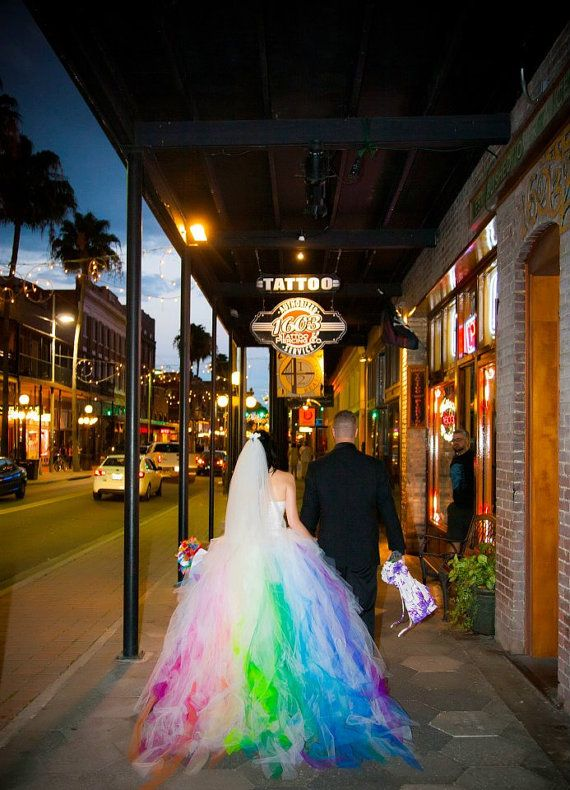 Holy shit, you guys. I don't care about wedding stuff but this dress made me want to get married (just a lil... ok not rly) - Rainbow Wedding Dress by SparkleFide on Etsy