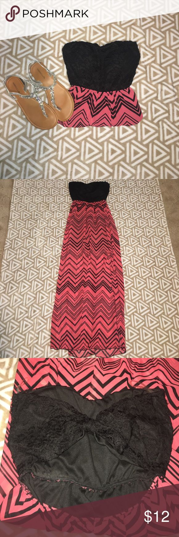 Chevron maxi dress Super cute pink and black chevron maxi dress. Light weight material with the attached slip. Back has a cute knot cut out! Body Central Dresses Maxi