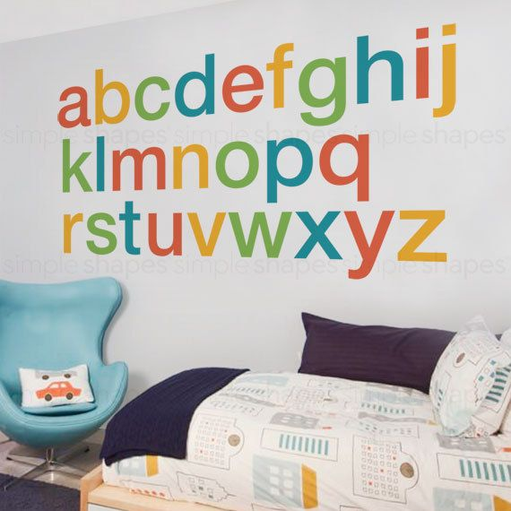 Alphabet stickers for playroom
