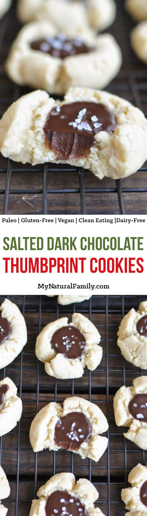 These salted dark chocolate thumbprint Paleo Christmas cookies are soft with the perfect texture. You really can't even tell they are Paleo, Gluten-Free, Clean Eating, Dairy-Free and Vegan!