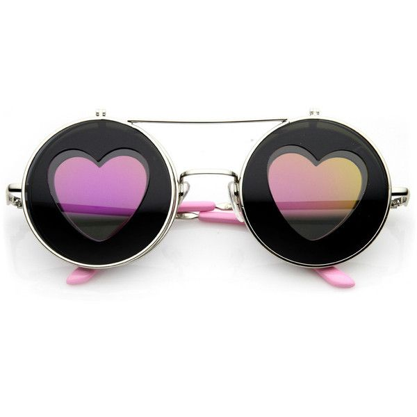 Cute Hippie Heart Shape Silhouette Flip Up sunglasses 9638 ($11) ❤ liked on Polyvore featuring accessories, eyewear, sunglasses, heart shaped glasses, hippie sunglasses, flip up glasses, steampunk glasses and heart glasses
