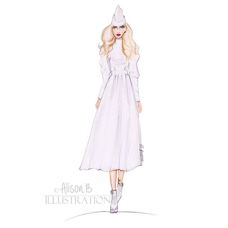 Fashion illustration I did of Fearne Cotton  walking for Pam Hogg A/W 17 2017