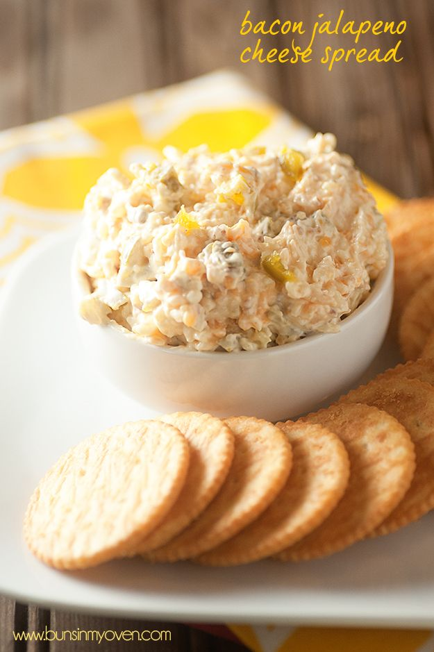 Bacon Jalapeno Cheese Spread:  Salty, spicy, creamy cheese dip full of bacon and jalapenos!