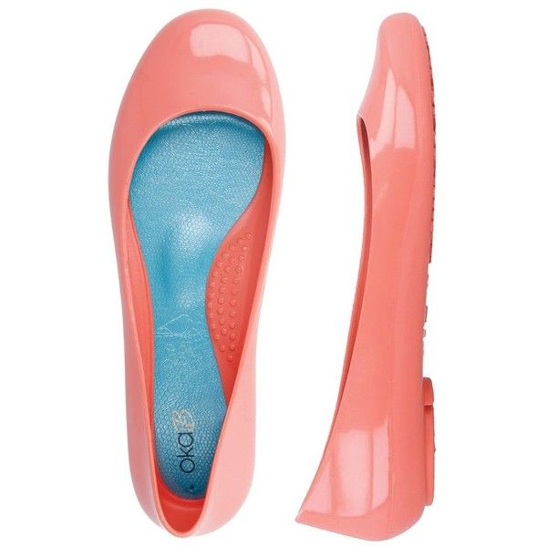 Ballerina Flats in Coral ($43) ❤ liked on Polyvore featuring shoes, flats, coral shoes, ballerina flat shoes, water proof shoes, coral flat shoes and waterproof ballet flats