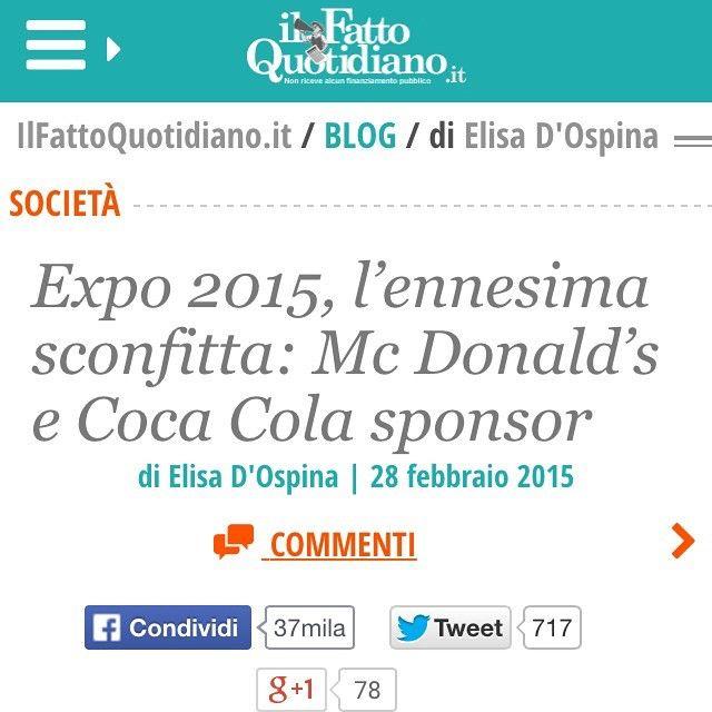 """#ElisaDOspina Elisa D'Ospina: Aggiornamento Expo: questo articolo ha creato un po' di scompiglio. Mi ha contattato il digital Pr di expo2015 dicendomi che in realtà McDonald's avrebbe solo un ristorante all'interno della manifestazione così come altre famose catene. In realtà tutti i comunicati parlano di Mc come """"Official Sponsor"""" della manifestazione. Quando sottolineo questa cosa (la discussione la trovate su Twitter) lui risponde che l'Expo è democratico ed è aperto"""