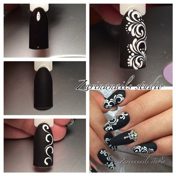 Black with white swirls