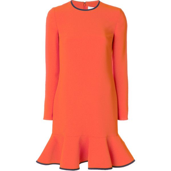 Victoria Victoria Beckham flared mini dress ($1,010) ❤ liked on Polyvore featuring dresses, victoria victoria beckham dress, orange dress, orange mini dress, red flare dress and red mini dress