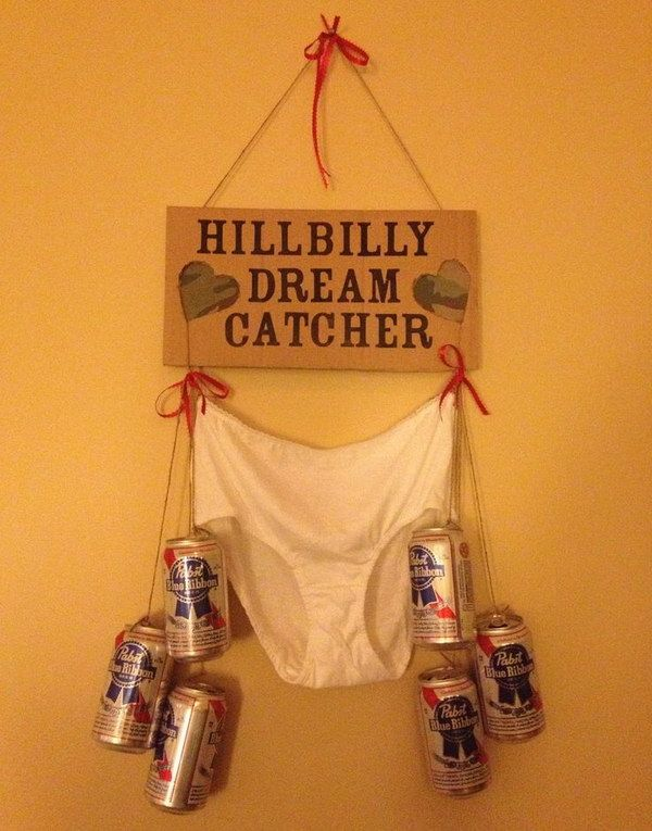 Hillbilly Dream Catcher. This is a gag gift for a redneck themed bachelorette party!