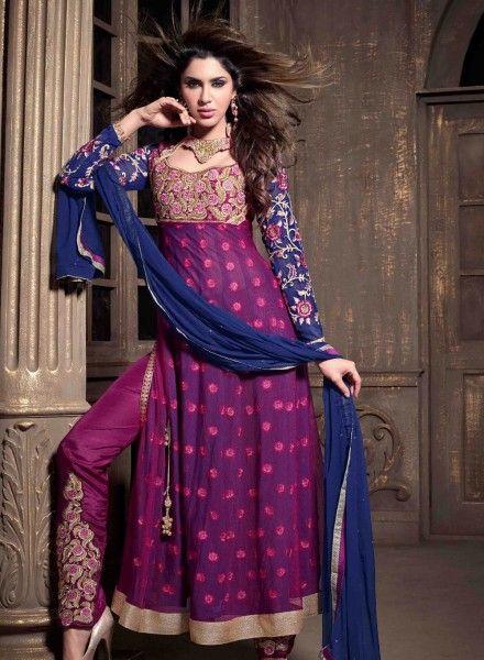 Violet latest Pakistani fashion pant kameez in net and georgette E15444