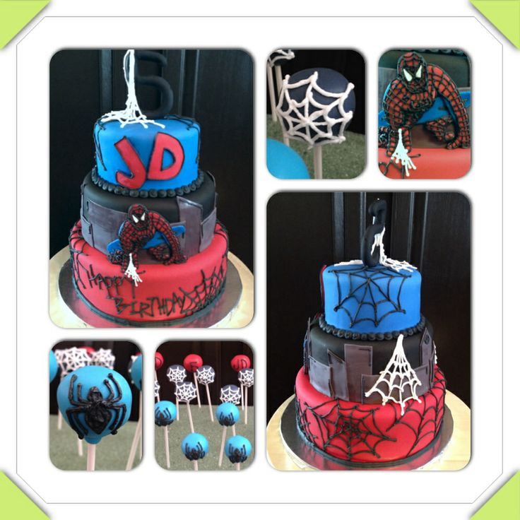 Spider Man Birthday Cake And Cake Pops Red Blue Black