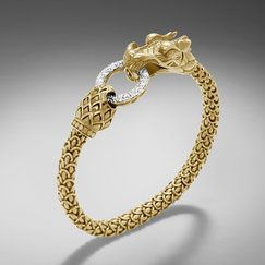 John Hardy NAGA COLLECTION  Dragon Bracelet with Diamond Pave (0.48ct). All in 18K Gold. #Accessorize #Jewelry