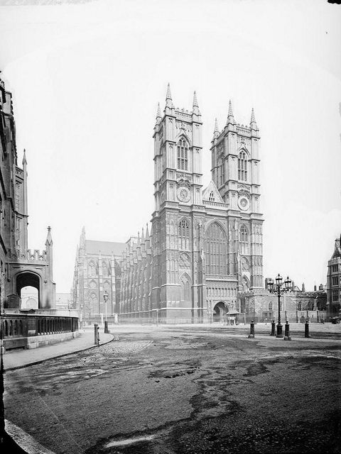 Exterior view of Westminster Abbey showing the west towers. Date taken : 1870 - 1900 Photographer : York & Son This image belongs to English Heritage Archive, the largest public archive in Britain with more than 12 million photographs of England's architecture, archaeology, local and social history.