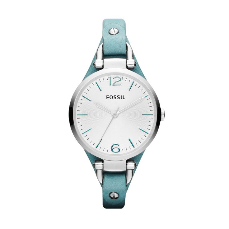 Fossil Georgia leather watch. If style is a 24-hour affair, Georgia will always keep you looking sharp. We're certain you'll be instantly enchanted by the teal leather strap and shiny stainless steel case. #Fossil