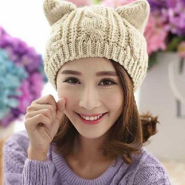 2018 Devil Horns Cat Ears Hat Beanie Crochet Knit Cap Fashion Autumn Women  Knitted Woolen Hats Girls Winter Beanies Warm Caps  HatsForWomen2018   ... e8854f7b4a5